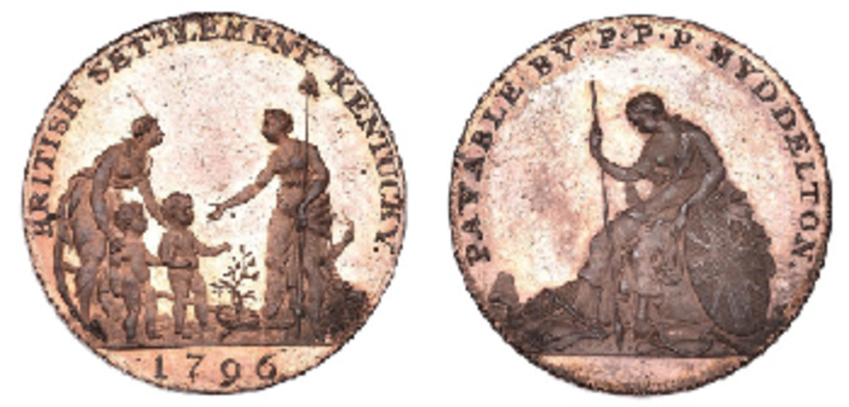 The rare and sought-after 1796 Kentucky halfpenny of Philip Myddelton in silver (Breen-1073, W-8905, R.6) which fetched $24,314, well over double estimate at DNW's September sale. The overall design has been construed as an allusion to Britain's loss of its American colonies, or even to her defeat at Yorktown. Margolis rejects such interpretations. He sees the portrayal as more general: Hope presents new citizens to America's Liberty who brings peace and plenty; in contrast Britannia symbolizes a hide-bound and depressed Britain devoid of justice and liberty. (Image courtesy Dix, Noonan & Webb)