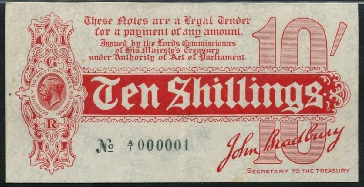 Historic ten shillings note number A/1 000001 issued at the start of WWI by the British Treasury (P-346; EPM T9). It took an easy $38,175 in PMG 53 About Uncirculated. (Image courtesy and © Spink London.)