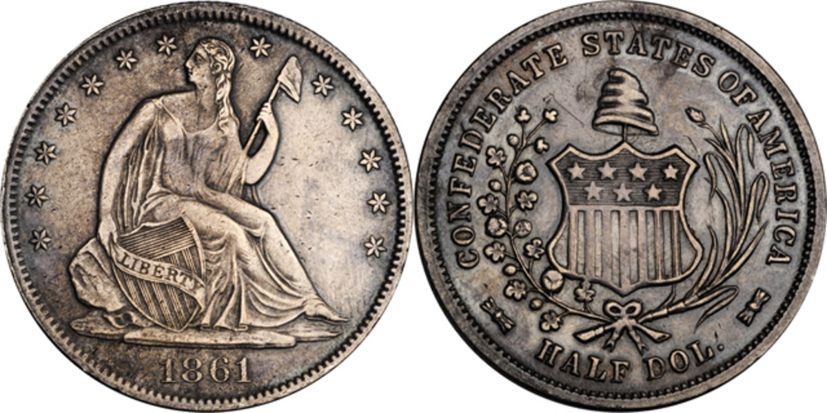 The Stack's Bowers catalog said the Seated Liberty side of the Confederate half dollar is actually the reverse.