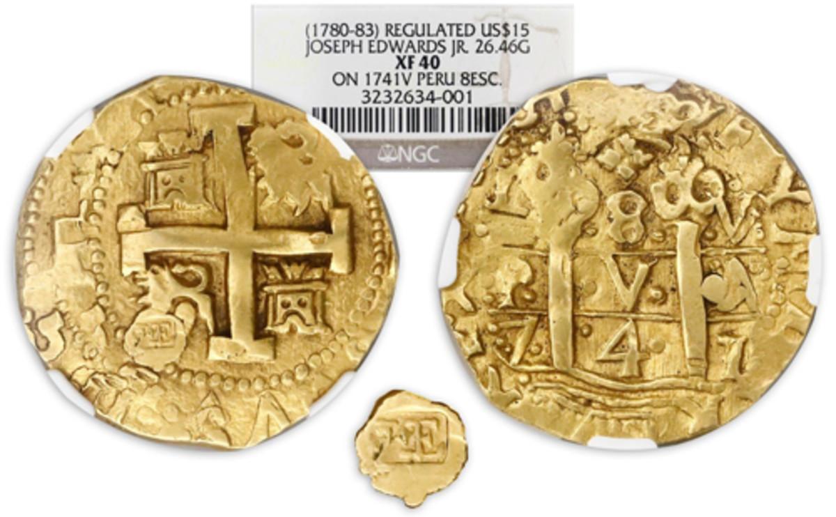 "Far surpassing estimate, a ""regulated"" cob gold 8 escudos sold for $152,750 in a Sedwick sale."