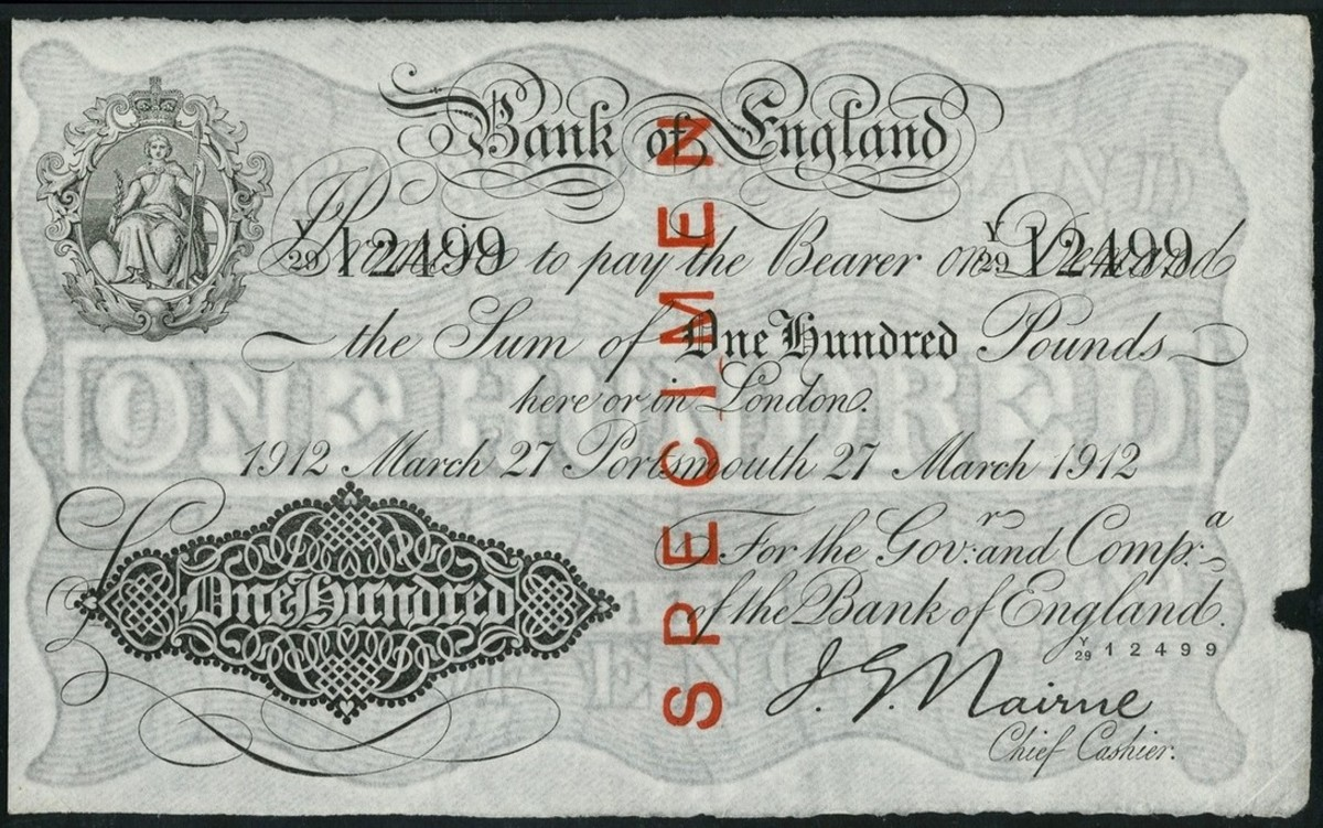 Presentation piece: one of two extant BoE £100 issued from the Portsmouth and dated 27 March 1912 (P-308s; EPM B208fi). Overprinted 'SPECIMEN' in red to allow its presentation to a bank official it realized $53,429, no doubt helped by it PMG grade of 63 EPQ Choice Uncirculated. (Image courtesy and © Spink London.)