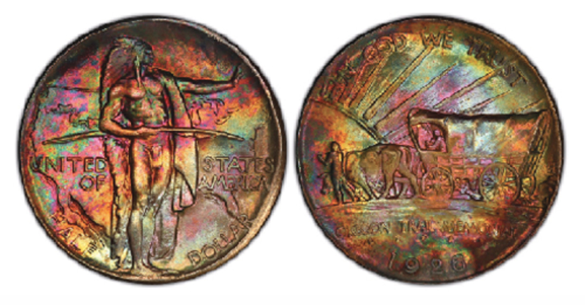 Many of the coins in the J & L Collection of U.S. commemoratives have spectacular, original toning, including this 1926 Oregon Trail half dollar, graded PCGS Gold Shield MS-68+ and the finest known. (Photo courtesy Professional Coin Grading Service www.PCGS.com)