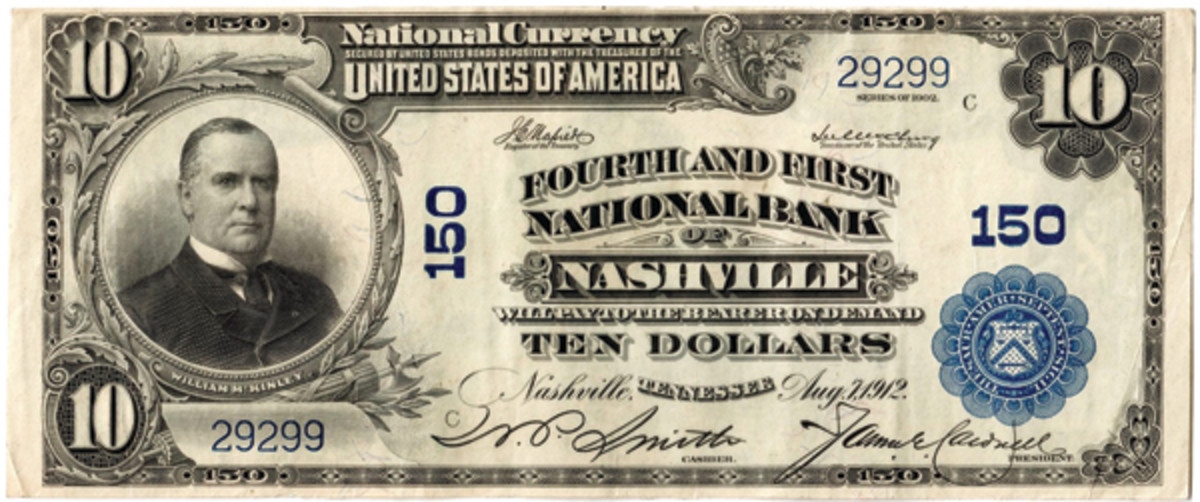 Series of 1902 note bearing charter 150 with Fourth and First title from a plate made in 1927 after charter number 150 was reinstated to the bank.