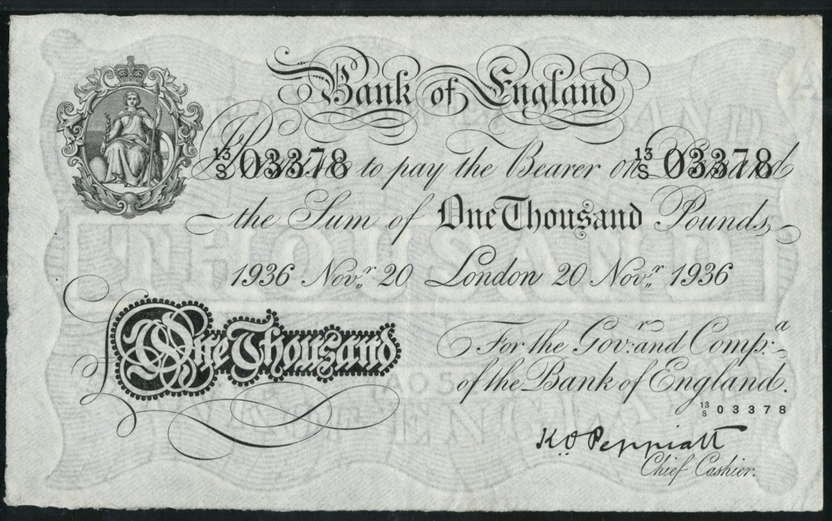 Second £1000 in the sale. This one dated 20 November 1936 is signed by Kenneth Oswald Peppiatt (P-341; EPM B247). In PMG 50 About Uncirculated it took $54,957. (Image courtesy and © Spink London.)