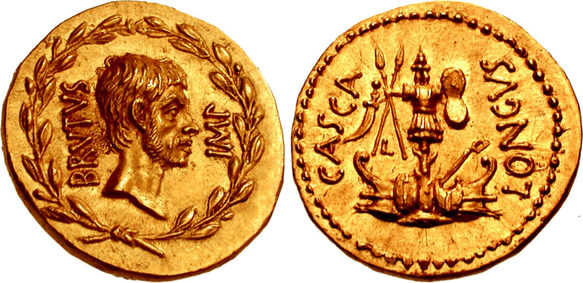 Hammered down for $800,000 at the Triton auction in New York City was a gold aureus of Brutus.