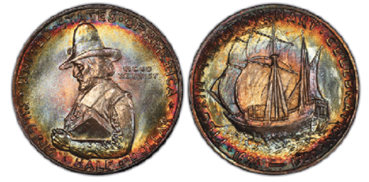 This 1920 Pilgrim half dollar, Professional Coin Grading Service Gold Shield MS-68, is one of the many highlights of the J & L commemorative coin collection – the PCGS Set Registry® current and all-time finest set – that will be exhibited by PCGS at the American Numismatic Association's 2018 World's Fair of Money®. (Photo courtesy Professional Coin Grading Service www.PCGS.com)