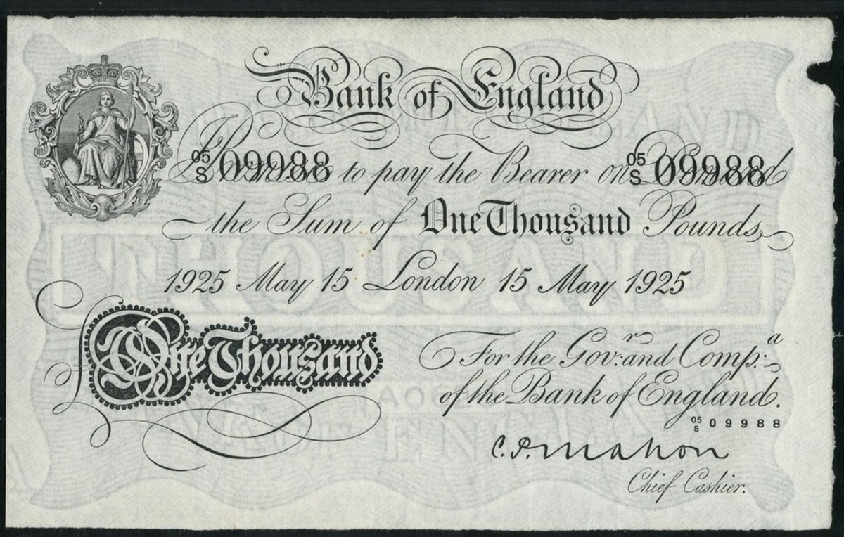 Rare BoE £1000 of 15 May 1925 signed by Cyril Patrick Mahon (P-327; EPM B222a). In PMG 35 Choice Very Fine it easily made $61,064. (Image courtesy and © Spink London.)