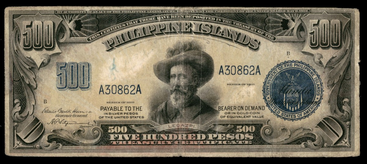 Sought-after Philippine 500 pesos Treasury Certificate of 1918 (P-67) which fetched $15,600 in collectable PMG VF 20. (Image courtesy Lyn Knight Auctions)