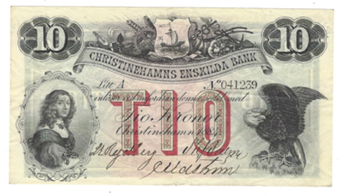 A Swedish 10-kronor note of 1884 from the Christinehamns Enskilda Bank.