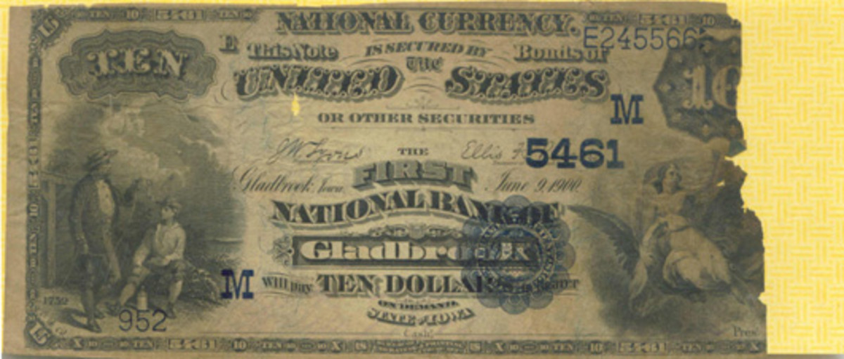 This tattered Series of 1882 $20 Date Back note issued by the First National Bank of Gladbrook, Iowa, led the author to visit the town and its bank.