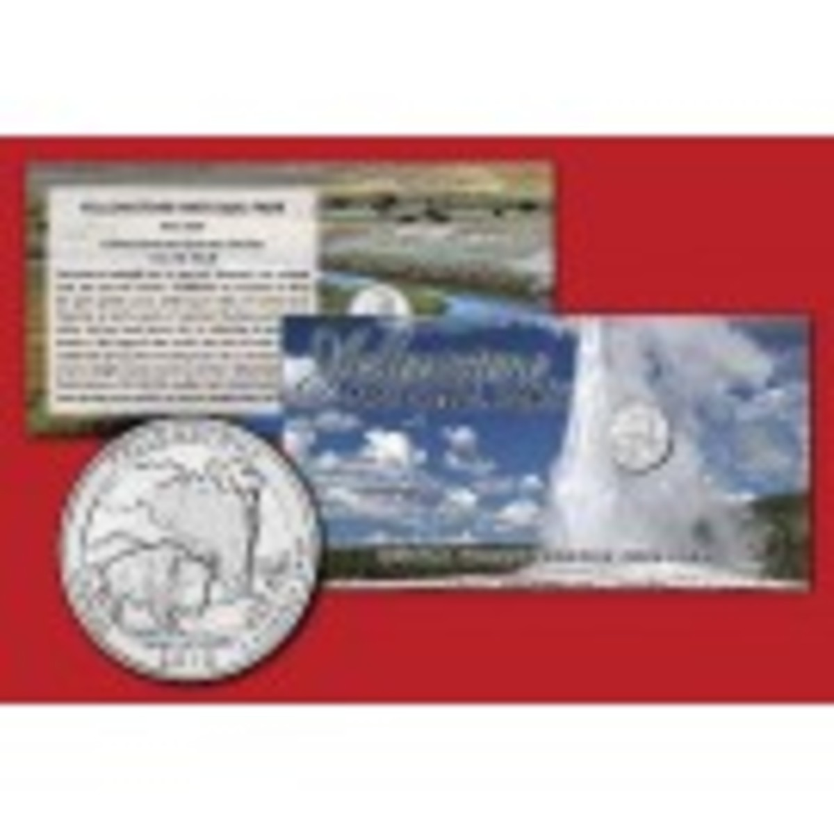 Yellowstone National Park Coin Card with Quarter Dollar