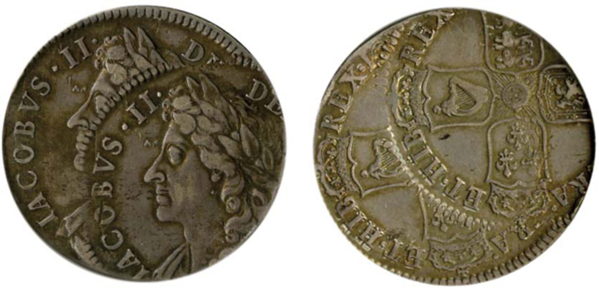 At a distant second came a James II double-struck halfcrown in which the second strike was 20 percent off center.