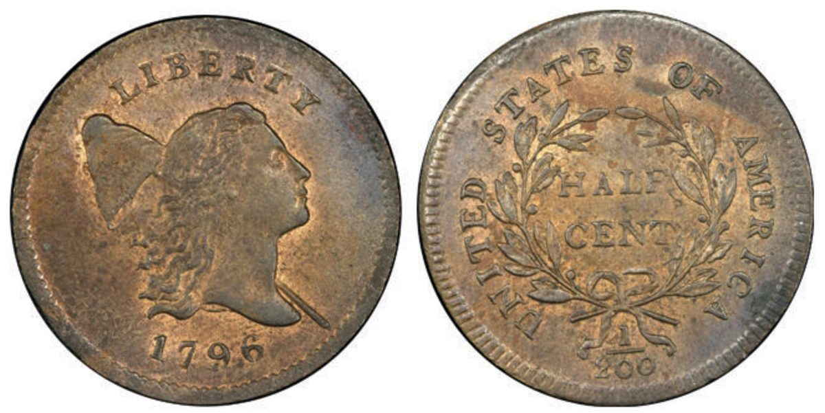 A 1796 With Pole half cent, graded MS-66 RB, commanded $336,000