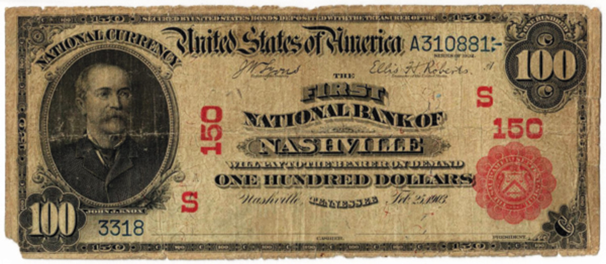 Series of 1902 note from The First National Bank, charter 150, before it and the Fourth were merged in 1912.