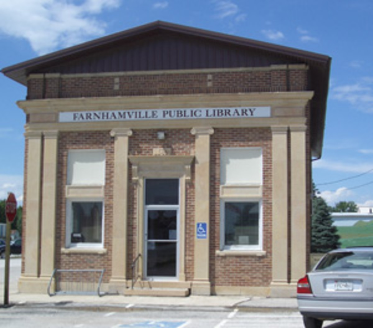 The First National Bank of Farnhamville, Iowa, is now in use as the town library.