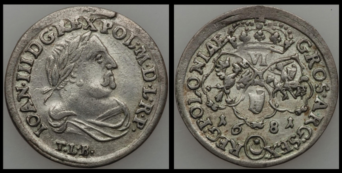 Obverse and reverse of a silver six grosz struck for Poland's King John III Sobieski struck from 1682 to 1687 (KM-128).  Images courtesy www.ha.com.