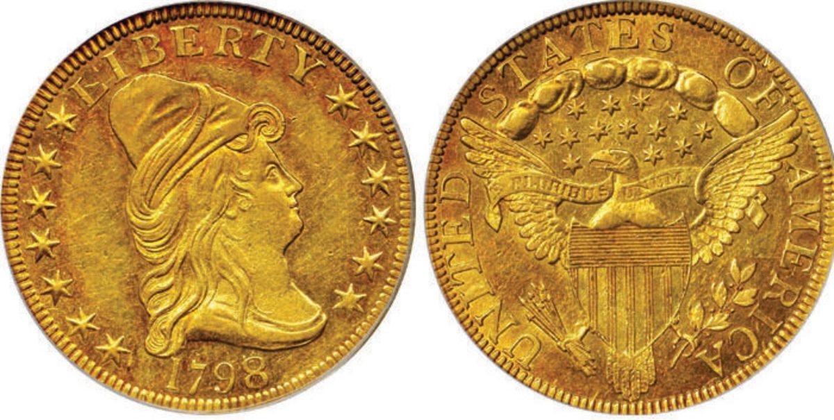 Lot 4015-1798/7 Stars 7x6 eagle graded AU-58 (PCGS) that brought $384,000