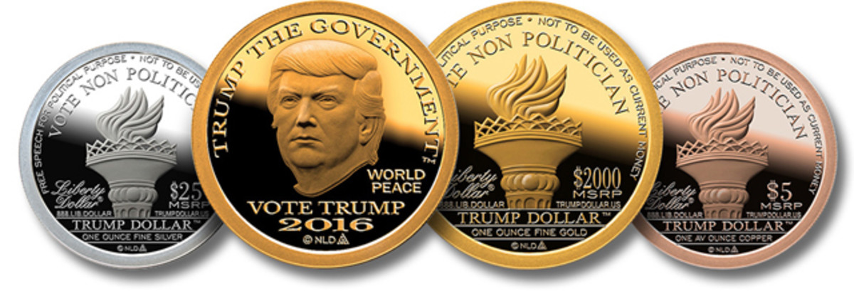 A lineup of the copper, silver and gold Trump medals going on sale.