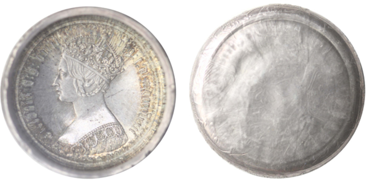 The highlight was the exceptional, uncirculated, 1872 gothic florin die cap.