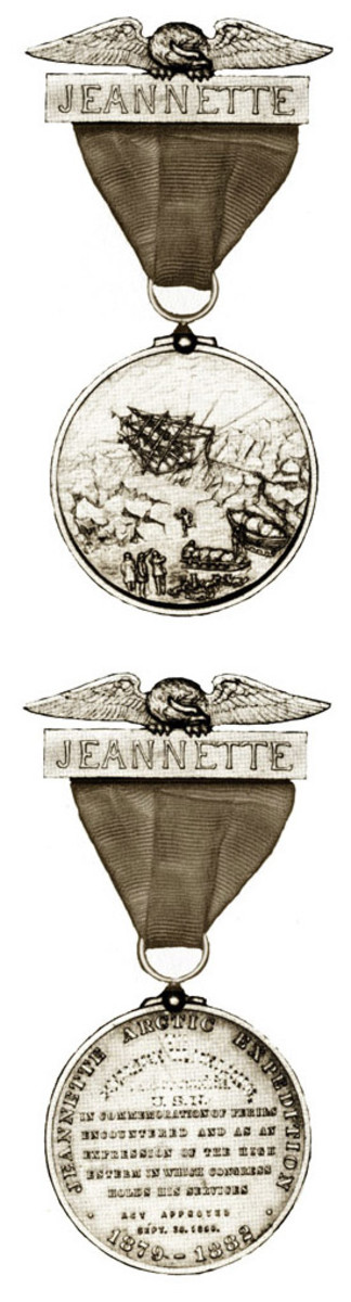 Front and back of the Jeanette medal.