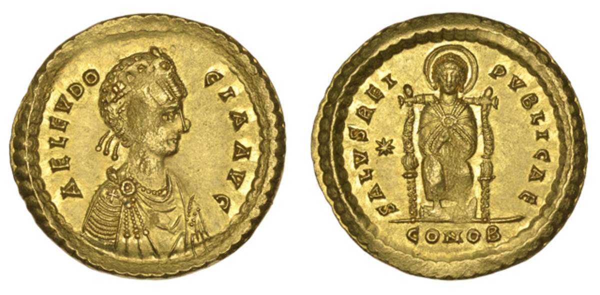 One of three known gold double solidus of Aelia Eudocia will go on the auction block at the DNW sale.