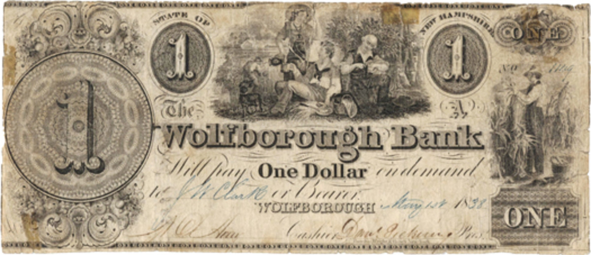 Wolfborough Bank $1 bill of 1838 signed by Augustine Avery, cashier, and Daniel Pickering, president.