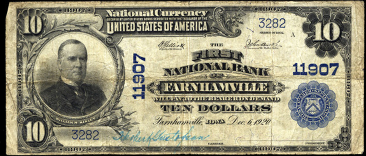 The First National Bank of Farnhamville, Iowa, issued both large and small size notes, though in small quantities, including this Series of 1902 $10 note. (Photo courtesy Heritage Auctions)
