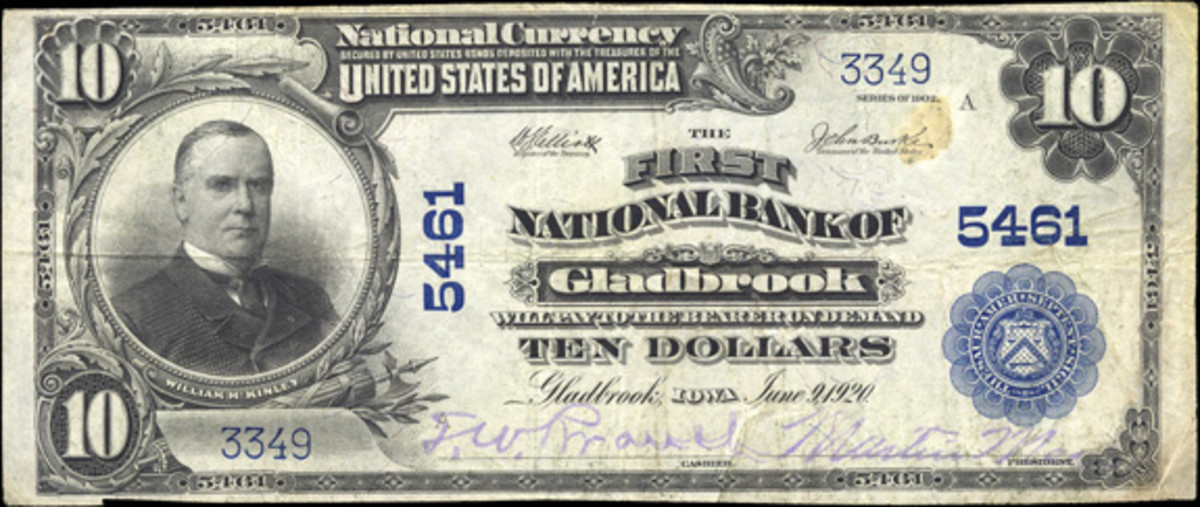 Here is a Series of 1902 large size note issued by the First National Bank of Gladbrook, Iowa. (Photo courtesy Heritage Auctions)