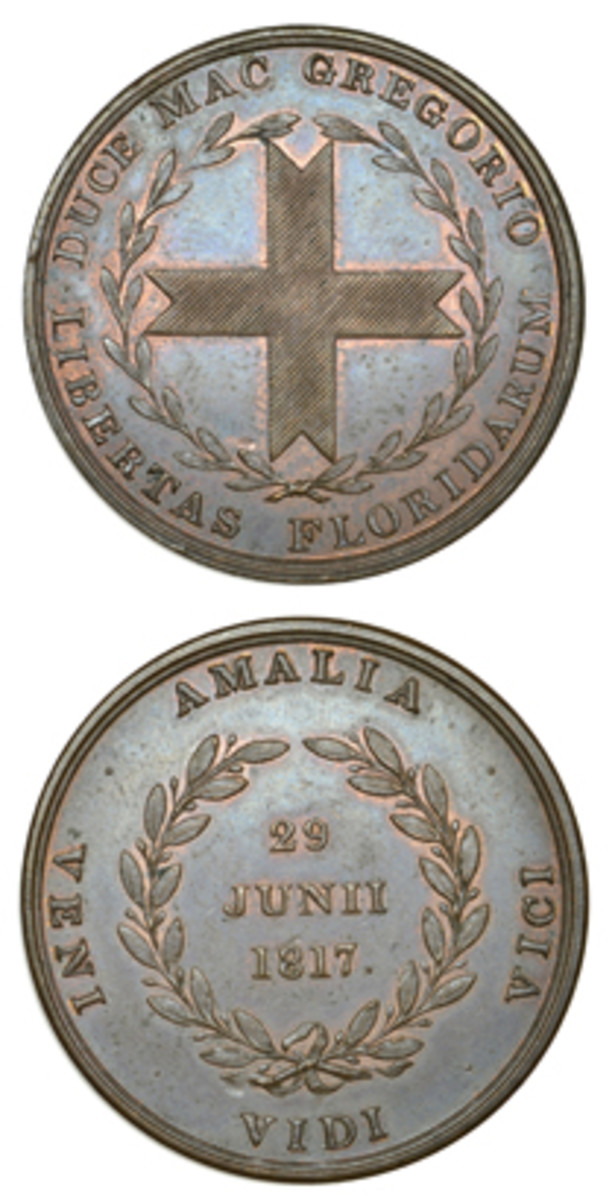 Green Cross of Florida, Amalia Island medal in copper that sold at Dix Noonan Webb's January sale for $4,986. (Images courtesy DNW)