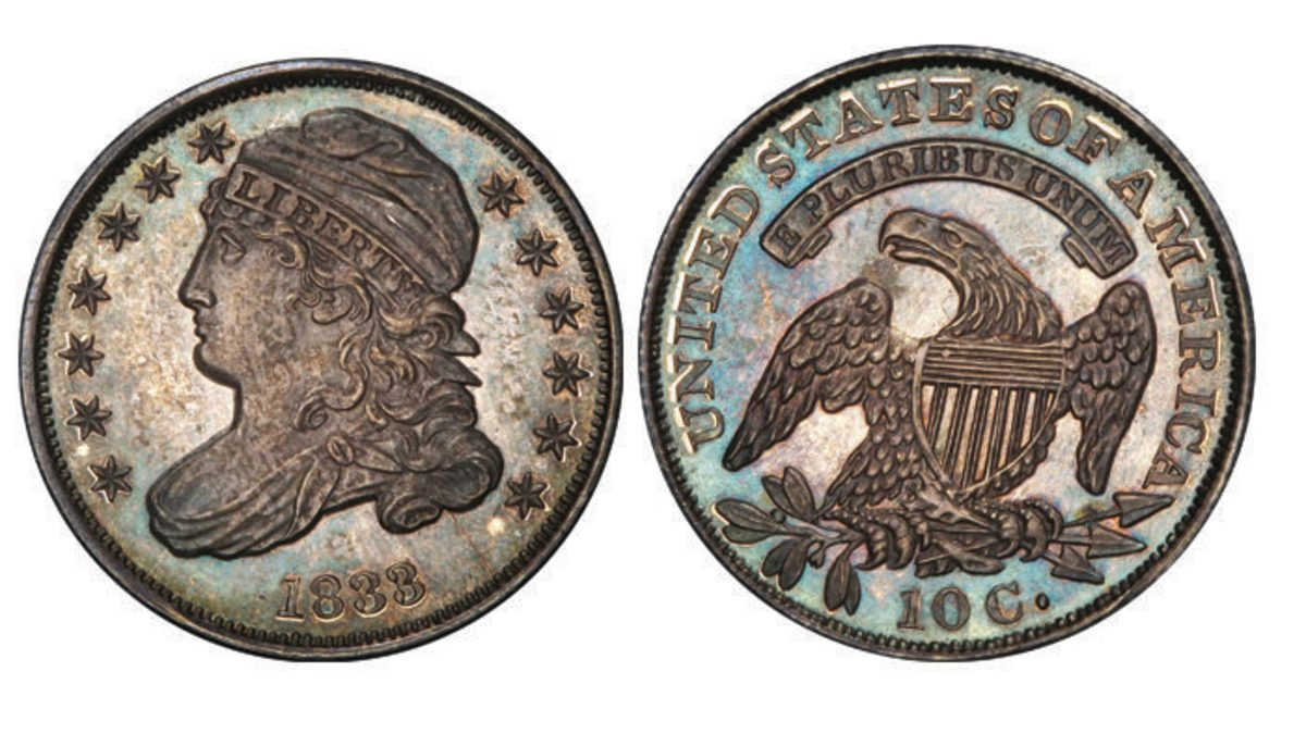 Leaving its pre-sale estimates in the dust, a proof 1833 dime hammered at $108,000.