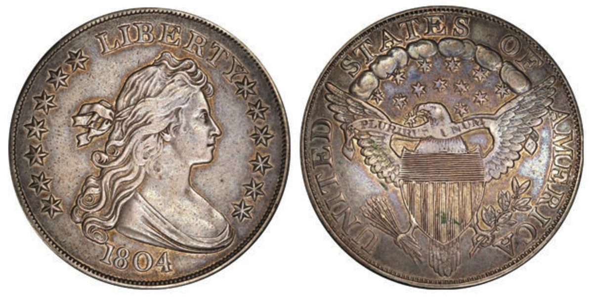 """The """"King of American Coins,"""" a Prf-55 example of the 1804 dollar was the second highest-earning lot. It hammered at $1.44 million."""