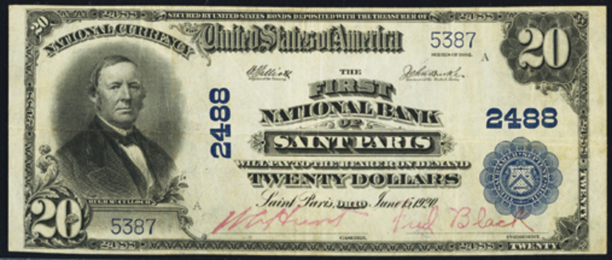 Here is a handsome Series of 1902 $20 note issued by the First National Bank of St. Paris, Ohio. This was the town's first bank, organized in 1880. (Photo courtesy Heritage Auctions)