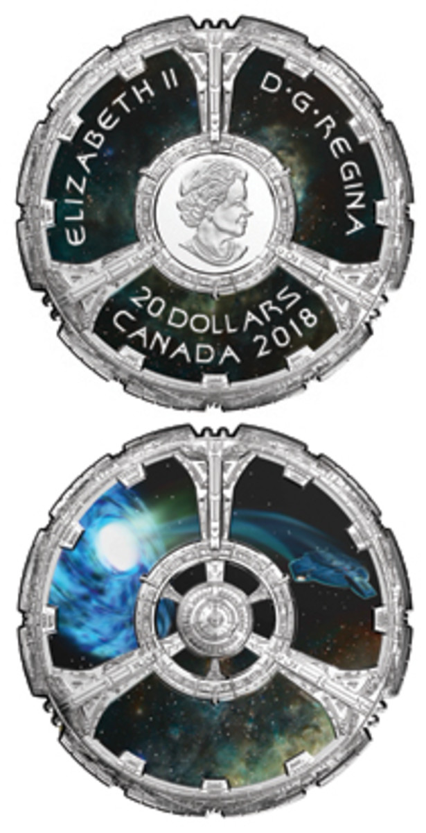 "Obverse and reverse of Canada's innovative and highly detailed silver proof $20 that celebrates the 25th anniversary of ""Deep Space Nine."" (Image courtesy & © Royal Canadian Mint)"