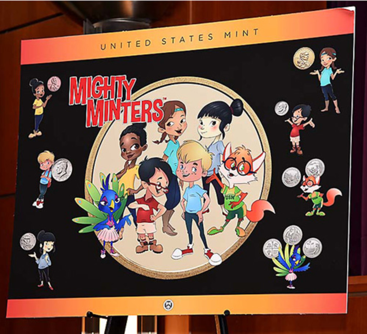 Can The Mighty Minters™️ rescue an aging numismatic hobby? The characters will be featured beginning in 2019 on a new line of youth products. (U.S. Mint photo by Jill Westeyn.)