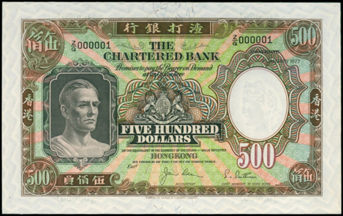 Top-selling Chartered Bank $500 of Jan. 1, 1977 (Pick 72d), whose serial number Z/G 000001 helped push its price to $49,084.