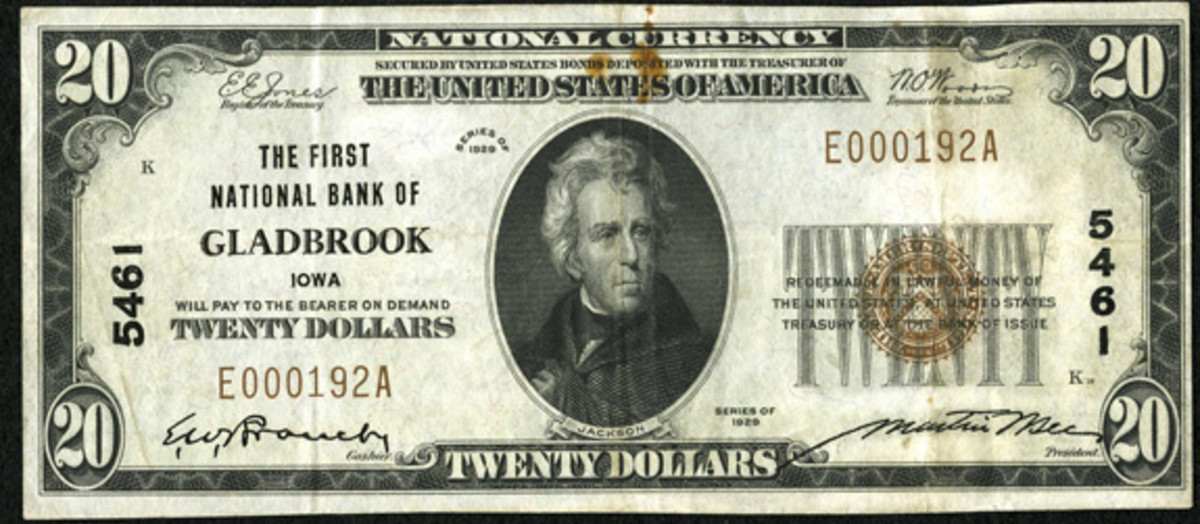The First National Bank of Gladbrook also issued small size notes, including this Series of 1929 $20 note. (Photo courtesy Heritage Auctions)