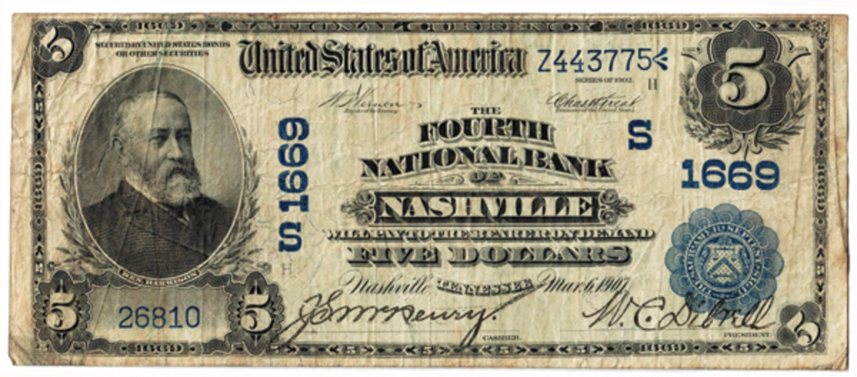 Series of 1902 note from the Fourth National Bank, charter 1669, before it and the First were merged in 1912.