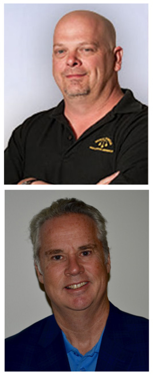"""Rick Harrison of """"Pawn Stars"""" fame (top) will be on hand to help shave the head of Miles Standish (bottom) during the ANA convention in Denver, Colo."""