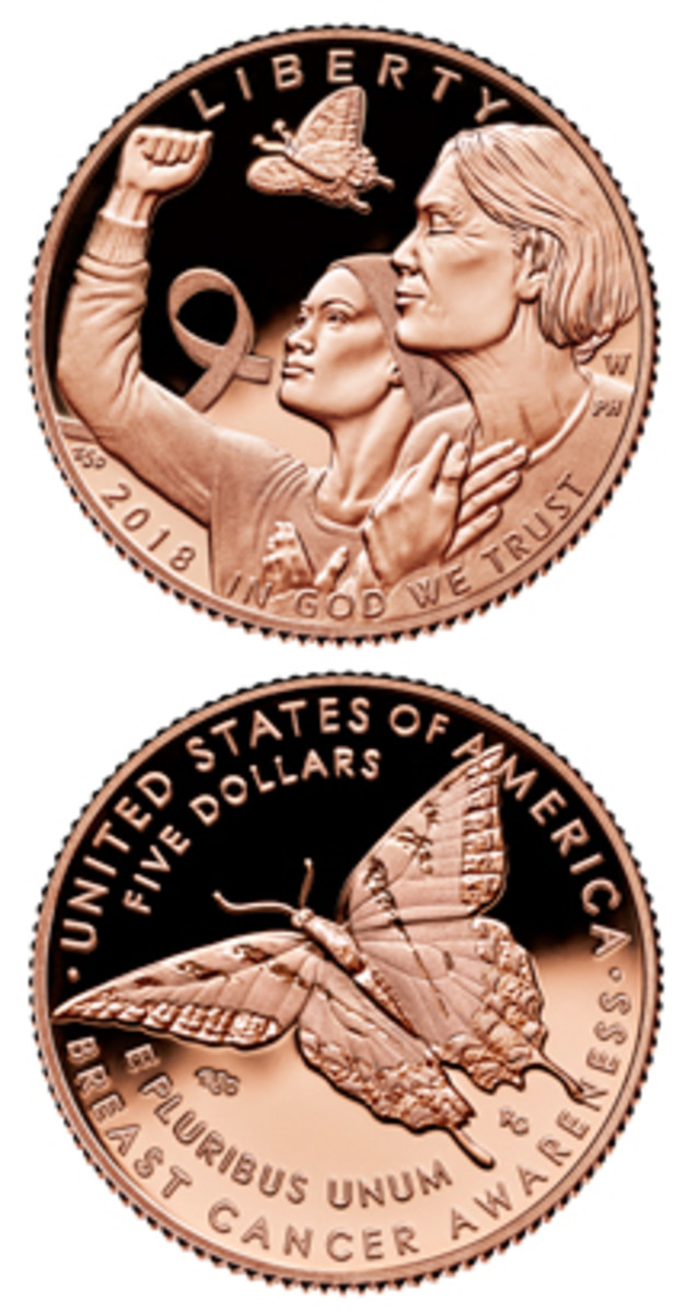 Pink gold will make the Breast Cander Awareness $5 stand out as unique among the many gold $5s that the Mint has struck since 1986.