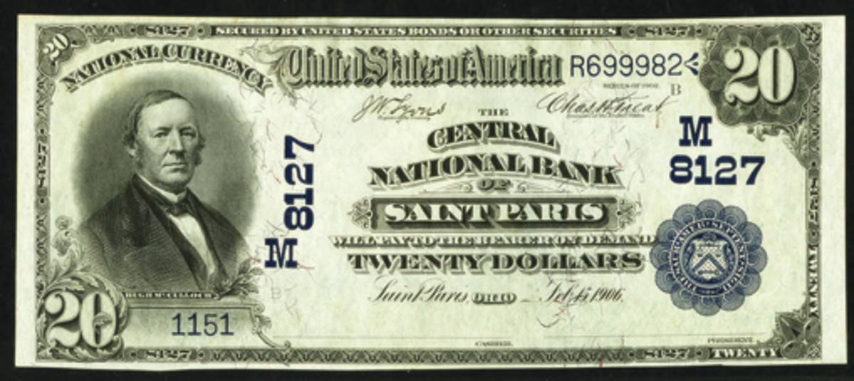 In 1906, St. Paris got some national bank competition with the opening of the Central National Bank of St. Paris. Here is a rather nice grade $20 note issued by the bank.