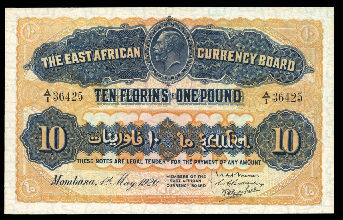 Top equal price I: East African Currency Board 10 florins (1 pound) of 1 May 1920 (P-10) that realized $38,400 in PMG Ch. UNC 64 at Knight Auctions IPMS sale in June. (Image courtesy Lyn Knight Auctions)