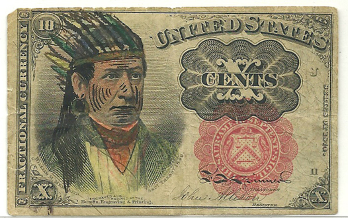 Fig. 4: In a rather unusual trend, in the late 19th century people would alter the portrait of William Meredith, Secretary of the Treasury, on notes. In this example, Meredith appears to have stereotypical markings and accents of Native American warriors.