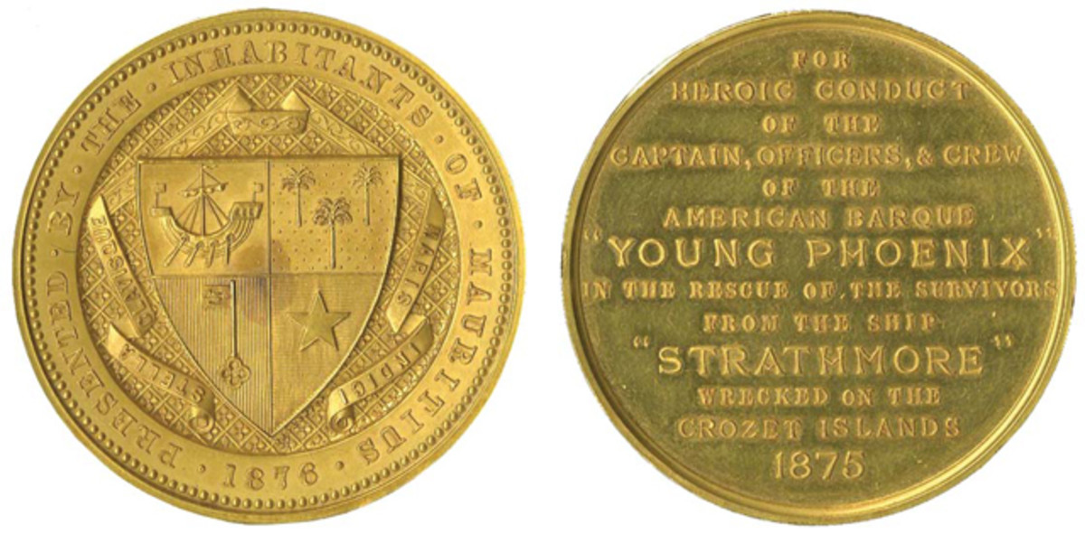 One of the top lots in the auction was a gold medal presented to the rescuers of the a sinking British ship.