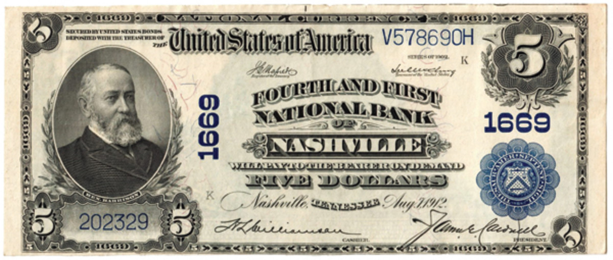 Series of 1902 note bearing charter number 1669 with Fourth and First title.