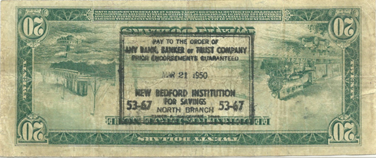 Fig. 5: The stamp appearing on this large-size $20 Federal Reseve note of 1914 reveals it was not submitted to a banking institution until 1950, many years after large-size notes were in use.