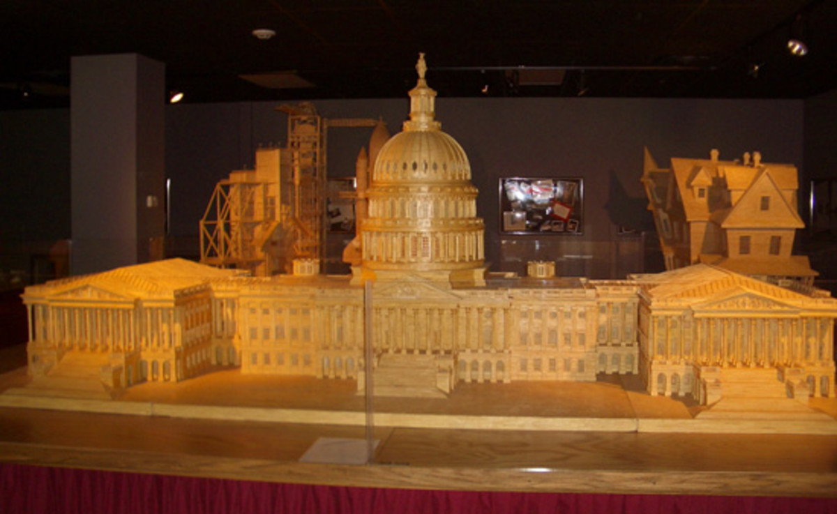 One example of the many amazing sculptures fashioned from match sticks at the Matchstick Marvels Museum in Gladbrook, Iowa, depicts the U.S. Capitol Building.