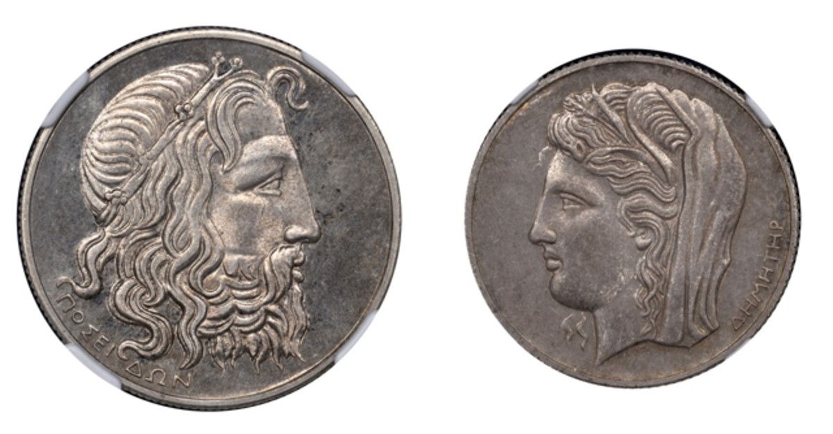 The highest price realized was the £15,600 [$24,024] paid for a Greek Republic 1930 proof set comprising 20, 10 and 5 drachmai, KM 71.1-73.