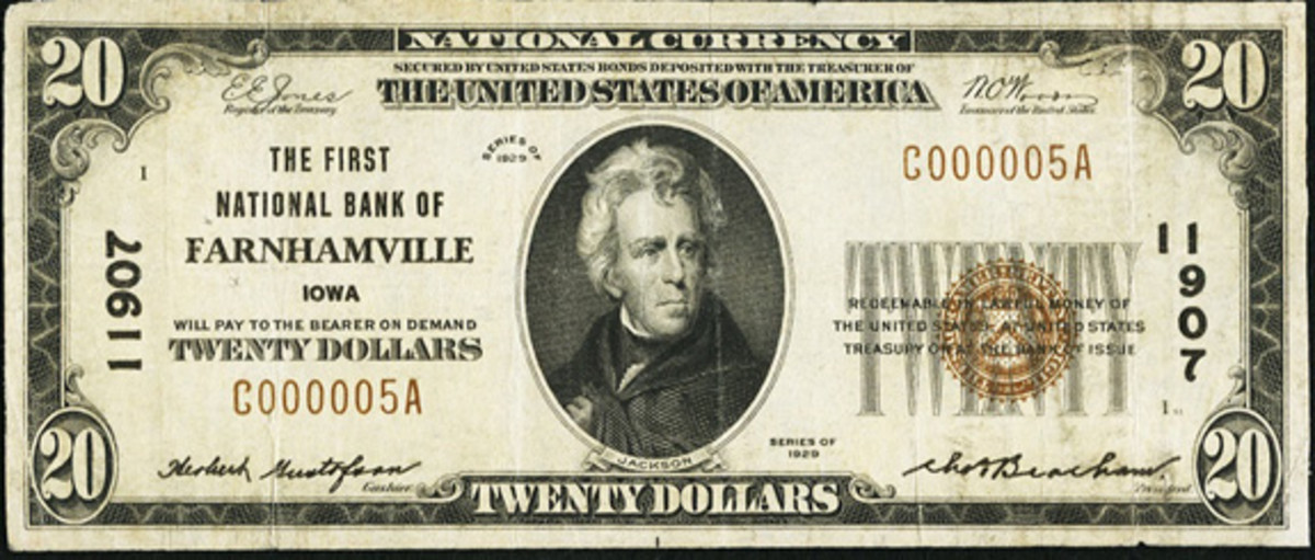 Here is a small size $20 Series of 1929 note issued by the Farnhamville, Iowa, bank.