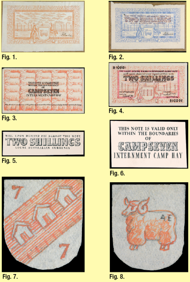 """Eight of the 12 items from the George Teltscher archive related to the production of the internment Camp Seven Bank issues of WW II: (Fig. 1.) uniface printer's trial in red of the two shillings face signed Stahl lacking main overprint, left signature and serials; (Fig. 2.) uniface printer's trial in blue of two shillings face with overprint but lacking date, serial and second signature; (Fig. 3.) uniface printer's trail in scarlet of common back of notes with overprint; (Fig. 4.) uniface artist's ink drawing in pink and black of the face the two shillings with a date of March 6, 1941, serial B10001, and """"Controller"""" as Dr. Hardegg at left and """"Manager"""" R. Stahl at right; (Fig. 5.) black overprint for face of two shillings; (Fig. 6.) common black overprint for back of all notes; (Fig. 7.) shield-shaped ink drawing of three huts and numbers """"7""""; (Fig. 8.) shield-shaped drawing of Merino ram as used on printed notes with initials """"A E."""" Images courtesy Noble Numismatics."""