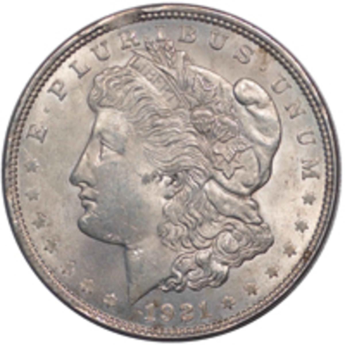 1921 Morgan Dollar with 'Splitting Headache' die breaks, VAM-3AM3 (Image courtesy www.vamworld.com)